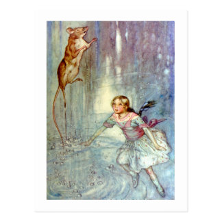 Alice and the Mouse Swimmimg in the Pool of Tears Postcard