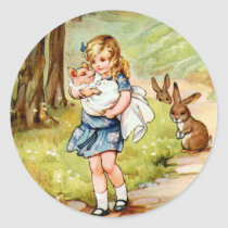 Alice and the Pig Baby Classic Round Sticker