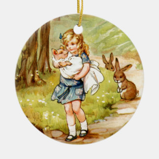Alice and the Pig Baby in Wonderland Double-Sided Ceramic Round Christmas Ornament