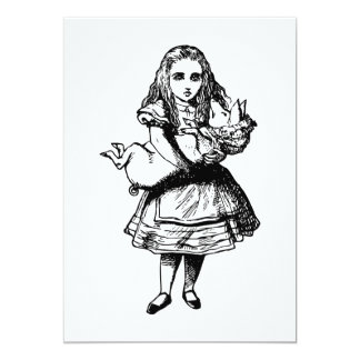 Alice and the Pig Baby Inked Black 5x7 Paper Invitation Card