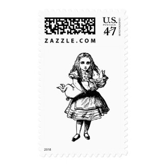 Alice and the Pig Baby Inked Black Postage Stamp