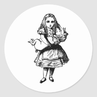 Alice and the Pig Baby Inked Black Round Stickers