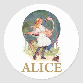 ALICE AND THE PINK FLAMINGO PLAY CROQUET CLASSIC ROUND STICKER