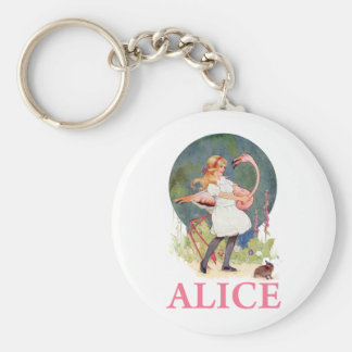 ALICE AND THE PINK FLAMINGO PLAY CROQUET KEYCHAIN