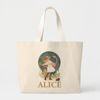ALICE AND THE PINK FLAMINGO PLAY CROQUET LARGE TOTE BAG