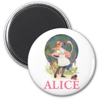 ALICE AND THE PINK FLAMINGO PLAY CROQUET FRIDGE MAGNETS