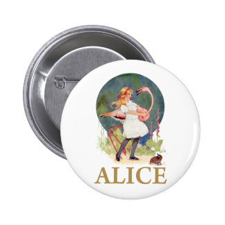 ALICE AND THE PINK FLAMINGO PLAY CROQUET PINBACK BUTTON