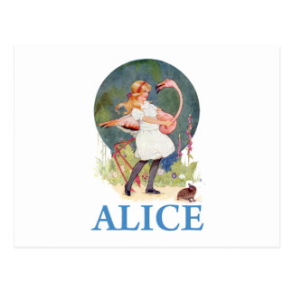 ALICE AND THE PINK FLAMINGO PLAY CROQUET POSTCARD