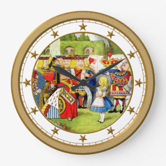 Alice and the Queen of Hearts In Wonderland Large Clock