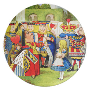 Alice and the Queen of Hearts in Wonderland Melamine Plate