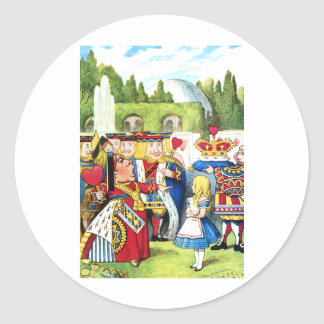 ALICE AND THE QUEEN OF HEARTS ROUND STICKER