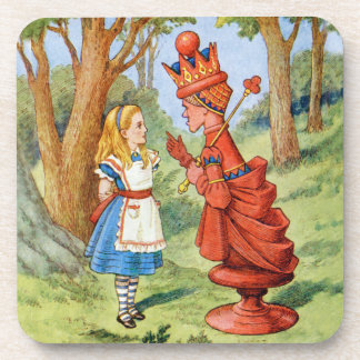 Alice and the Red Queen in Wonderland Beverage Coaster