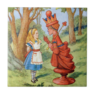 Alice and the Red Queen in Wonderland Ceramic Tile