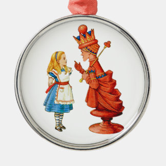 Alice and the Red Queen in Wonderland Round Metal Christmas Ornament