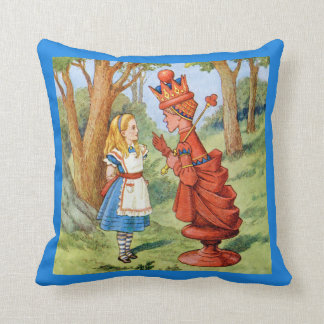 Alice and the Red Queen in Wonderland Throw Pillow