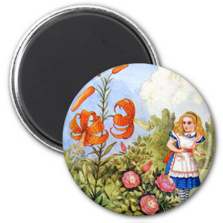 Alice and the Talking Flowers in Wonderland 2 Inch Round Magnet