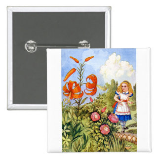 Alice and the Talking Flowers in Wonderland Pins