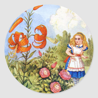 Alice and the Talking Flowers in Wonderland Classic Round Sticker