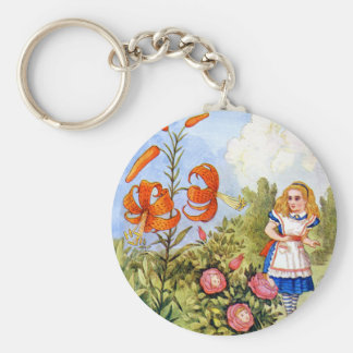 Alice and the Talking Flowers in Wonderland Keychain