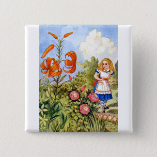 Alice and the Talking Flowers in Wonderland Pinback Button