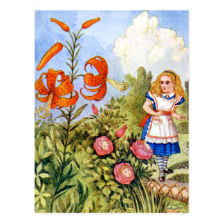 Alice and the Talking Flowers in Wonderland Postcard