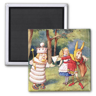 Alice and the White King in Wonderland Magnet