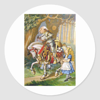 Alice and the White Knight in Wonderland Classic Round Sticker