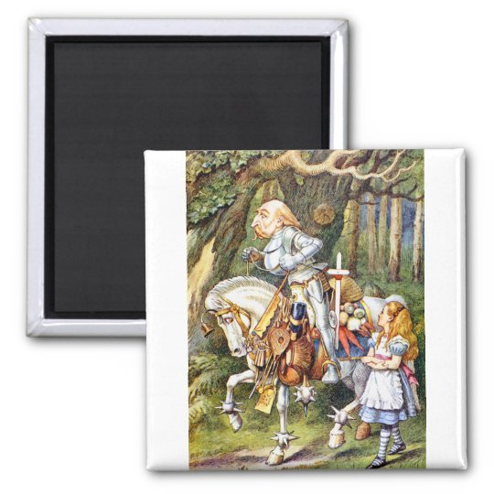 Alice and the White Knight in Wonderland Magnet