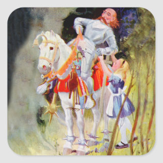 Alice and the White  Knight in Wonderland Square Sticker