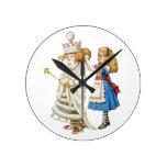 Alice and the White Queen in Wonderland Round Clock