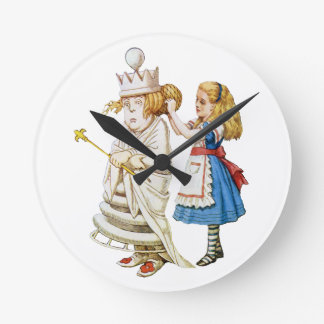Alice and the White Queen in Wonderland Round Clock