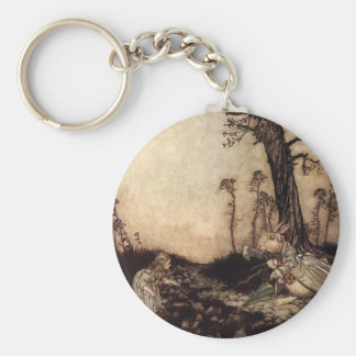 Alice and the White Rabbit Basic Round Button Keychain