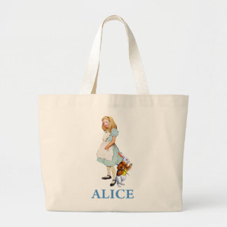 Alice and the White Rabbit in Wonderland Tote Bag