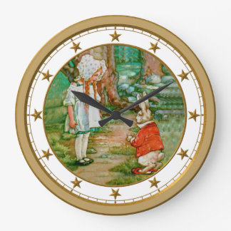 Alice and the White Rabbit in Wonderland Wall Clocks