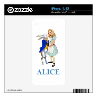Alice and The White Rabbit in Wonderland Decal For iPhone 4