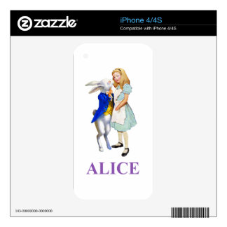 Alice and The White Rabbit in Wonderland Decals For The iPhone 4S