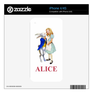 Alice and The White Rabbit in Wonderland iPhone 4 Decals