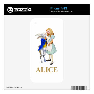 Alice and The White Rabbit in Wonderland iPhone 4S Decals