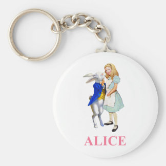 Alice and The White Rabbit in Wonderland Keychain