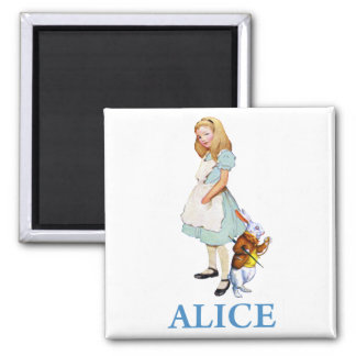 Alice and the White Rabbit in Wonderland Magnet