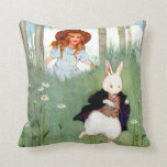 Alice and The White Rabbit In Wonderland Throw Pillows