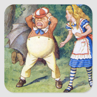 Alice and Tweedledee in Wonderland Square Sticker