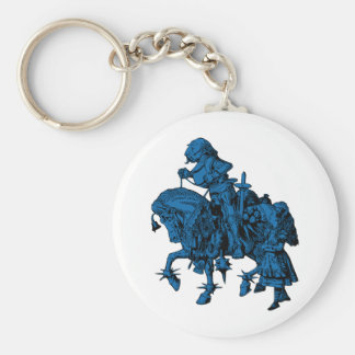 Alice and White Knight Inked Blue Fill Keychain