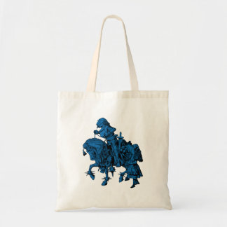 Alice and White Knight Inked Blue Fill Tote Bag
