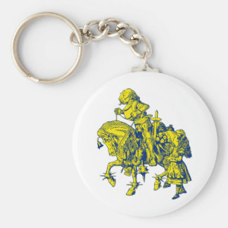 Alice and White Knight Inked Blue Yellow Keychain