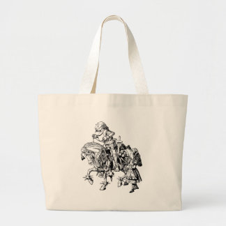 Alice and White Knight Inked Large Tote Bag