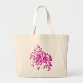 Alice and White Knight Inked Pink Large Tote Bag