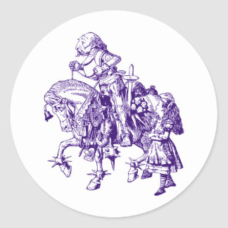 Alice and White Knight Inked Purple Classic Round Sticker