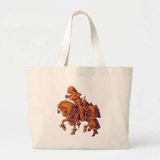 Alice and White Knight Inked Purple Orange Large Tote Bag