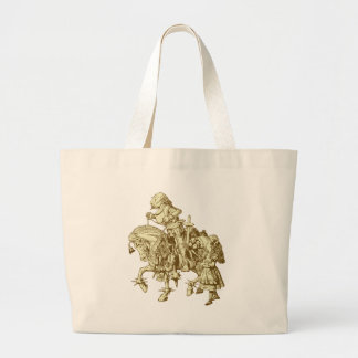 Alice and White Knight Inked Sepia Large Tote Bag
